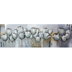 Canvas relief painting-Abstract relief canvas wall art , Silver tulips  50/150 cm
