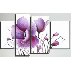 Wall art painting, 4 Panel painting, Poppies 1 : 30х60/30х90/40х80/40х60 cm
