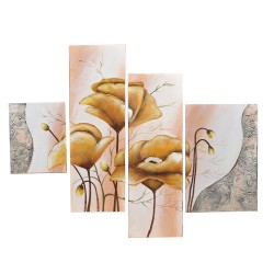 Wall art painting, 4 Panel painting,Yellow poppies,  40х60х2/30х90х2 cm