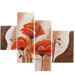 Wall art painting, 4 Panel painting,Red poppies : 40х60х2/30х90х2 cm