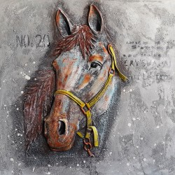 Oil painting,Relief canvas painting - Relief canvas wall art, Horse 80x80см
