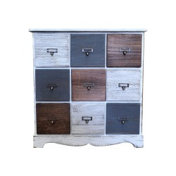 Wooden Sideboard,9 Drawers Sideboard,Cupboard,Buffet, Solo,Chest , Multicoloured, 60/22/63h