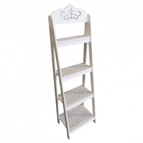 4 Tier Ladder shelf,White 30/25/108 cm
