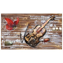 Oil painting,Oil painting on a wood panel,Violin and butterfly  54/90 cm