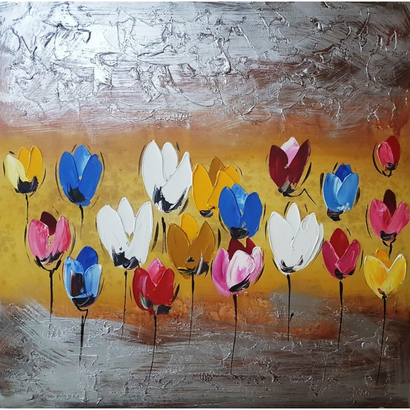 Hand Painted Abstract Canvas Painting Abstract Relief Painting Abstract Wall Art Abstract Flowers 100h100 Sm